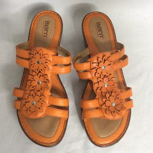 Born Orange Slip On Wedge Sandal Leather Sz 9